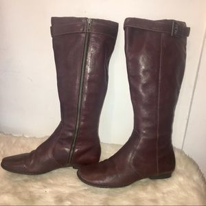 Born Bordeaux Wine Color Leather Knee High Boots-8
